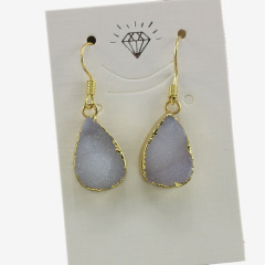 EA3210 Fashion natural agate colour druzy drop earring,gold plated druzy drop earring