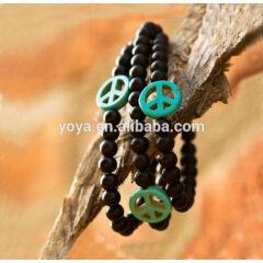BRN1109 Fashion Elastic Peace Sign Bracelet