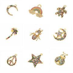 Chic Cute Rainbow CZ Micro pave Palm Tree Star Turtle Animal Charm Pendants