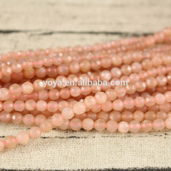 SB6600 Good quality 4mm faceted sunstone gemstone round beads