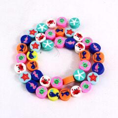 CC1873 Rainbow Polymer Clay Disc Animal Starfish Fish Turtle Crab Flat Round Beads