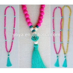 NE2096 Chunky wooden beads tassel necklace,hot pink beads and turquoise tassel necklace