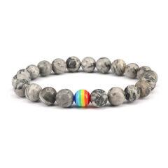 8mm grey map jasper bracelet stone bead men's bracelet