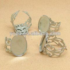 JFS1011 Silver plated oval bezel ring base