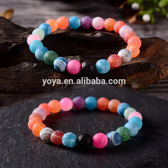 BN5005 Colorful crackle agate beaded bracelet women,lava rock essential oil yoga bead bracelet