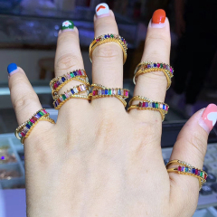 RM1064 Dainty Rainbow Ring Eternity Band Multicolor Band Ring Stackable Rainbow Ring Rainbow CZ Rings