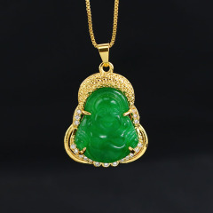 pink green jade laughing buddha necklace for women