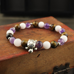 BAA1713 Natural Multicolor gemstone beaded with sliver turtle tortoise bracelet jewelry