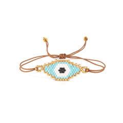 BG1007 Delicate Handmade Miyuki Seed Beaded Evil Evileye Eye Woven Charm Bracelet for Women