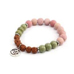 BN1317 Trendy Rhodonite Gemstone Spiritual Bracelet,Rudraksha Bead Ohm Charm Bracelets,Healing OM Bracelets