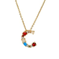 Brass 18k Gold Plated Jewelry 26 Rainbow Color Zircon Diamond Initial Letter Pendant Necklace Carta Joyas Collar