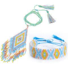 S11045 Chic Bohemia Miyuki Seed Loom Beaded Tassel Necklace and Bracelet Jewellery Set