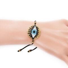 BG1009 Dainty Handmade Miyuki Seed Beaded Evil Evileye Eye Woven Charm Loom Friendship Bracelet for Women Girls