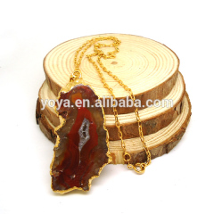 NE2226 Fashion Gold Plated Brown Agate Slice Pendant Necklace