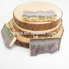 JF6537 Wholesale gold plated double bail amethyst slice druzy stalactite pendant
