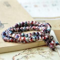 108 8mm Variety of Ceramic Tibetan Buddhist Prayer Beads Necklace Buddha Mala Rosary 3 layers Charm Bracelet for Women