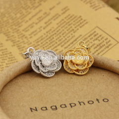 CZ6501 Lovely connector type cz micro pave fancy flower prndant findings charm