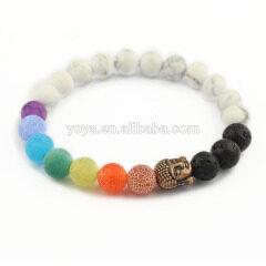 BRP1634E latest colorful agate chakra buddha bracelets essential oil elastic bracelets