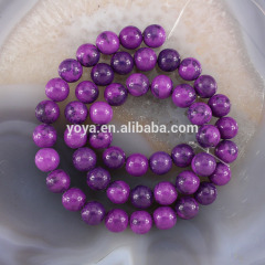 RF0260 Purple Synthetic Sugilite Stone Round Beads