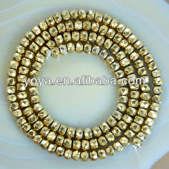 HB3014 2x3mm Gold Golden Faceted Hematite Abacus beads, Faceted Hematite Beads