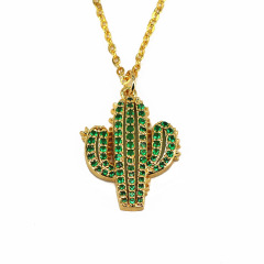 NC1015 2019 Fashion Dainty Gold Minimalist Green CZ Diamond Cactus Pendant Necklace