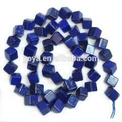 LL1020 Natural Lapis lazuli cube beads,lapis lazuli diagonal drilled cube beads