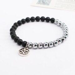 BN1316 Fashion Black Matte Onyx with Silver Plated Hematite Beaded Bracelet with OM charm,Yoga Bracelets