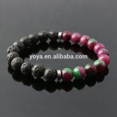 BN1082 charm gemstone bead colorful jade lava elastic bracelet,fashion stone bead essential oil ladies bracelet