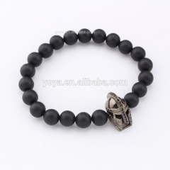 BRD1001 Hot sale Black Onyx Beaded Black Gladiator Head Helmet Bracelets for Men