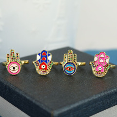 Popular Chic Rainbow Enameled Hamsa Hand Heart Eye CZ Micro Pave Finger Rings for women