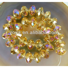 CR5009 Gold Crystal Beads,Faceted Crystal Rondelle Beads,crystal beads wholesale