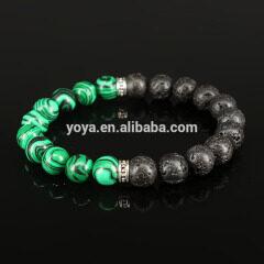 BN1114 Fashion Green Malachite and Black Lava Beaded Stretch Bracelet,Meditation Bracelet
