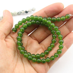 MJ3183 Wholesale smooth olive green jade beads,natural stone beads in bulk for bracelets
