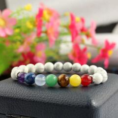 BRP1621 Fashion natural howlite stone bracelet jewelry,7 chakra bracelet,rainbow bracelet made in China