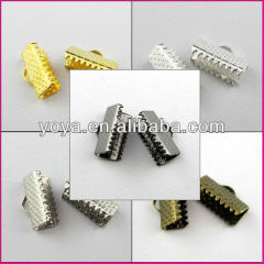 JF0728 Silver/gold/gunmetal/bronze plated ribbon crimp ends,Ribbon Clamps,end caps crimp beads