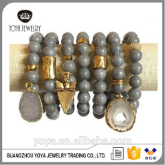 BRB1385 Fashion Gold Plated Hammered Tube Bracelets,Grey Jade Beaded Bracelet with Arrowhead charm