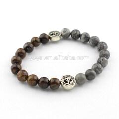 SS1616 wholesale bronzite & map jasper 925 sterling sliver bracelet, sliver jewelry
