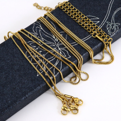 NS1083 High quality Jewelry Gold Plated Stainless Steel Box Chain Necklace