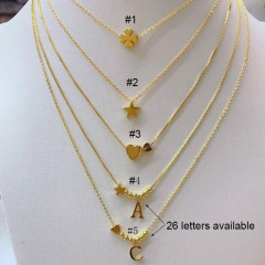 brass necklace heart star letter charm necklace for girls