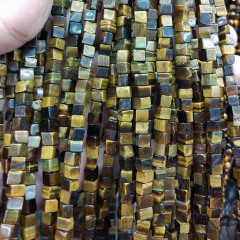 SB6695 New arrival natural yellow tiger eye cube square stone beads for jewelry making