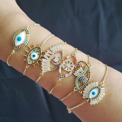 BC1263 Hot Sale Brass Micro Pave Gold Plated Evil eyes Charms Bracelet,CZ Eye Charms Bracelets Jewelry