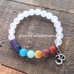 BRP1620 Latest design 7 chakra stone bracelet with OM,matte clear quartz energy bracelet in wholesale