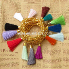 BRH0933 Wholesale tiny gold metal nugget beaded tassel bracelet,colour block bracelet