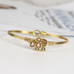 BA1029 Fashion Women Jewelry Gold plated Diamond CZ Micro Pave  Elephant Ladies Bangles