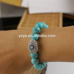 BRE1030 Fashion turquoise beads CZ micro pave evil eye charm bracelet