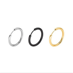ES1019 High Quality Unisex Gold Plated 316L Surgical Stainless Steel Round Circle Hoop Huggie Earrings for Women Men