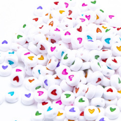 GP0940 Popular White  Flat plastic acrylic 4*7mm 500g Rainbow Enamel Heart round disc beads for jewelry DIY