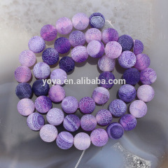AB0261Purple frosted agate beads,purple fire weathered agate beads