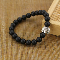 BRA1024 Hot sale matte black onyx beaded animal charm elephant bracelet