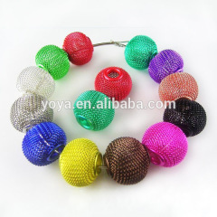 JF2001 Multicolor basketball wives hoop earring spacers mesh beads,wire mesh beads